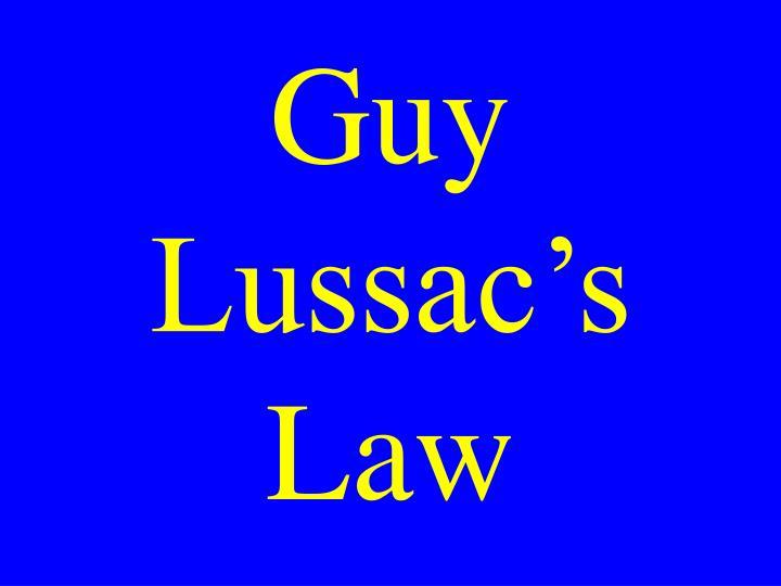 Guy Lussac's Law