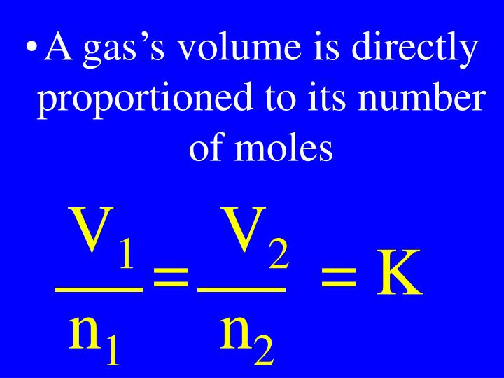 A gas's volume is directly proportioned to its number of moles