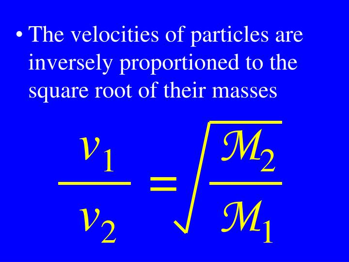 The velocities of particles are inversely proportioned to the square root of their masses