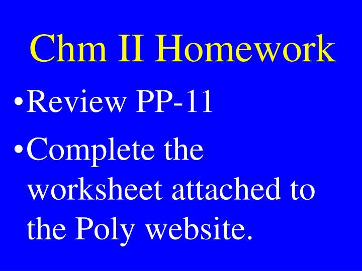 Chm II Homework