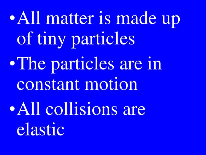 All matter is made up of tiny particles