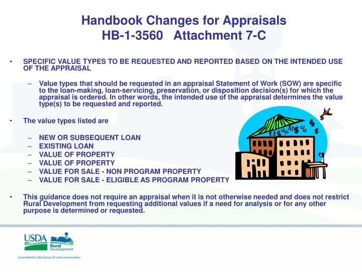 Handbook Changes for Appraisals