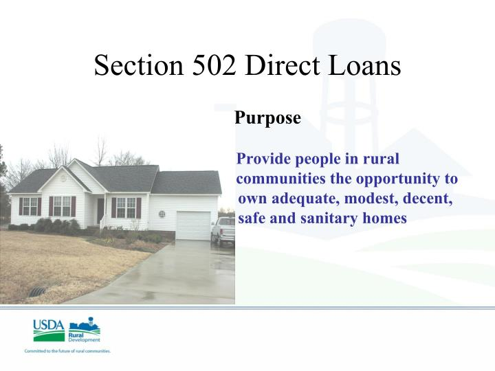 Section 502 Direct Loans