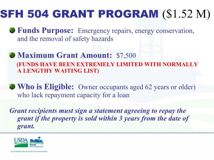 SFH 504 GRANT PROGRAM