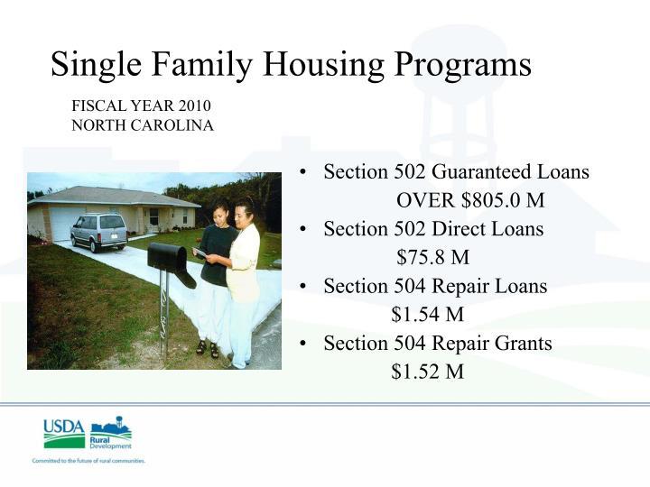 Single Family Housing Programs