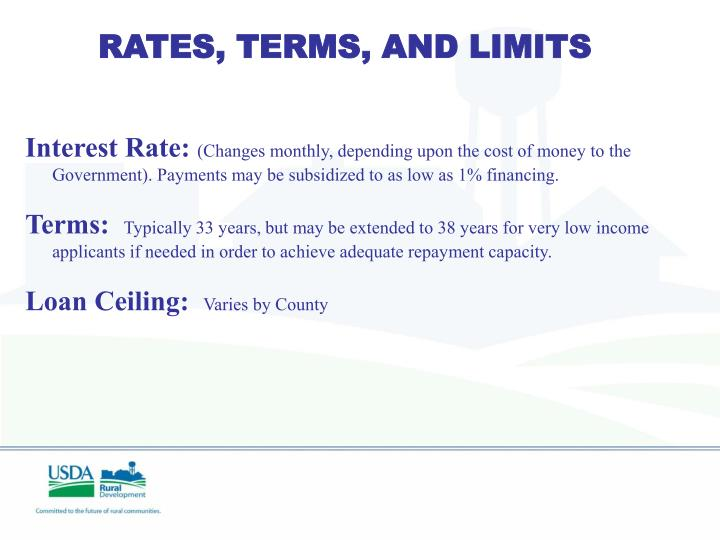 RATES, TERMS, AND LIMITS