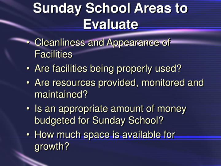 Sunday School Areas to Evaluate