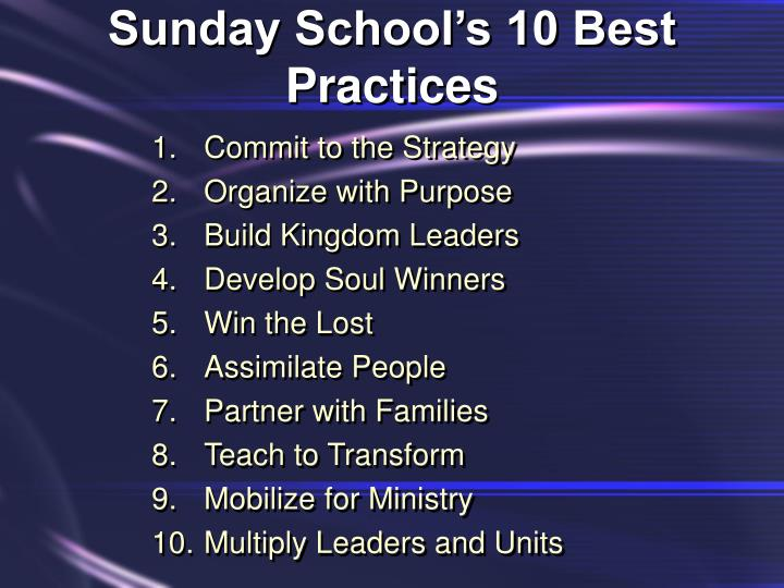 Sunday School's 10 Best Practices