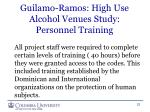 guilamo ramos high use alcohol venues study personnel training