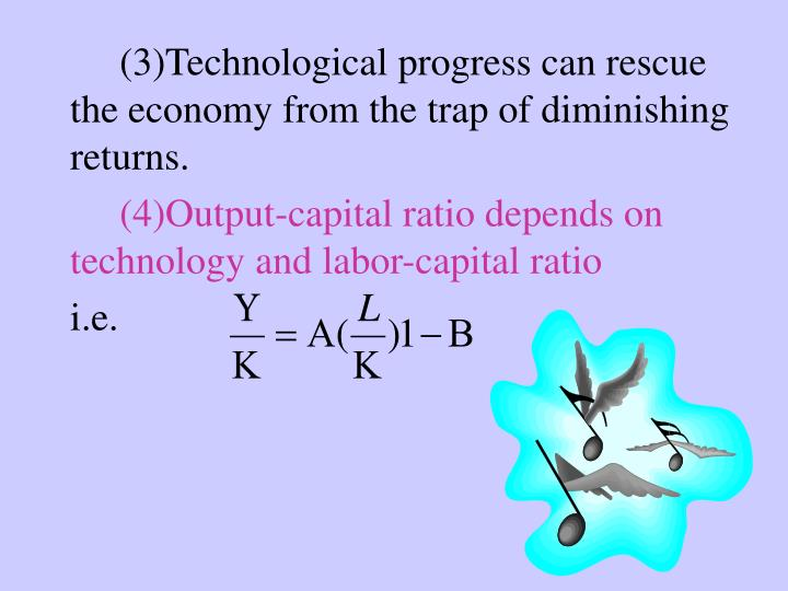 (3)Technological progress can rescue the economy from the trap of diminishing returns.