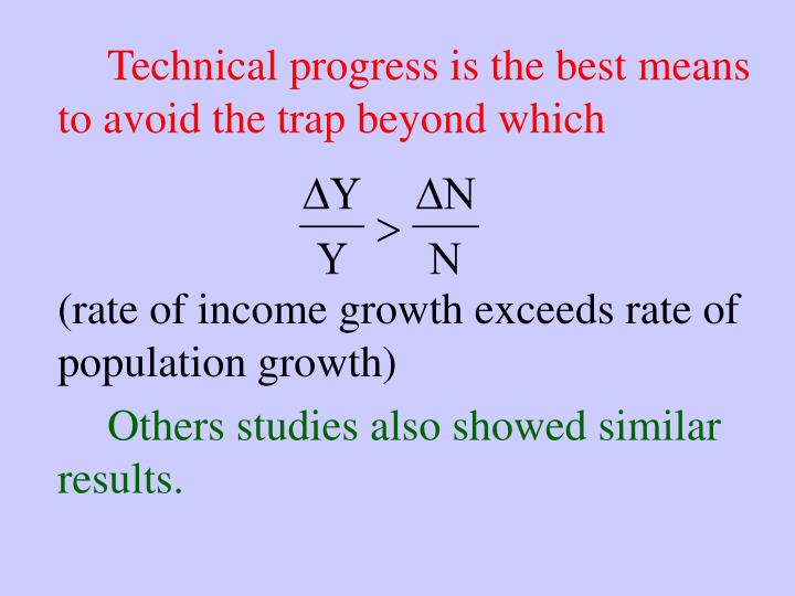 Technical progress is the best means to avoid the trap beyond which