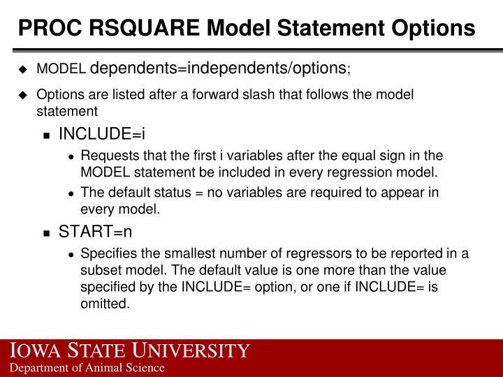 PROC RSQUARE Model Statement Options