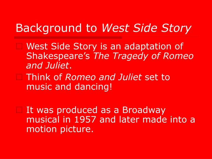 romeo and juliet west side story 1-16 of 20 results for romeo and juliet and west side story romeo and juliet and west side story (signet classic shakespeare) 15 aug 1965 by william shakespeare.