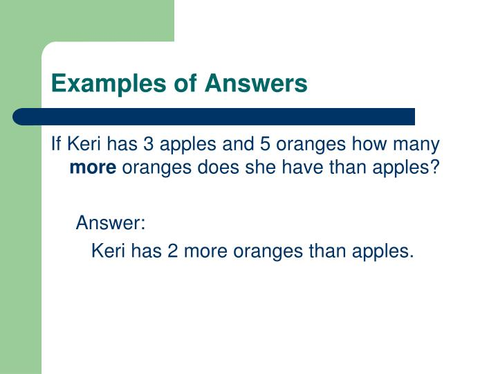 Examples of Answers