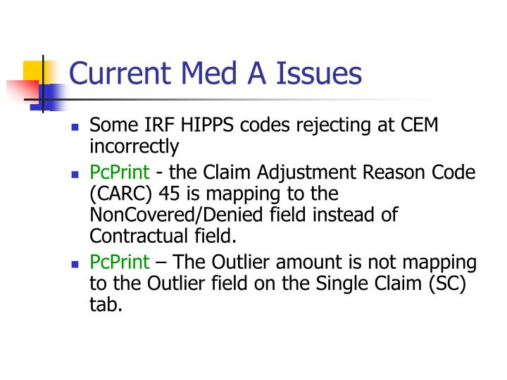 Current Med A Issues