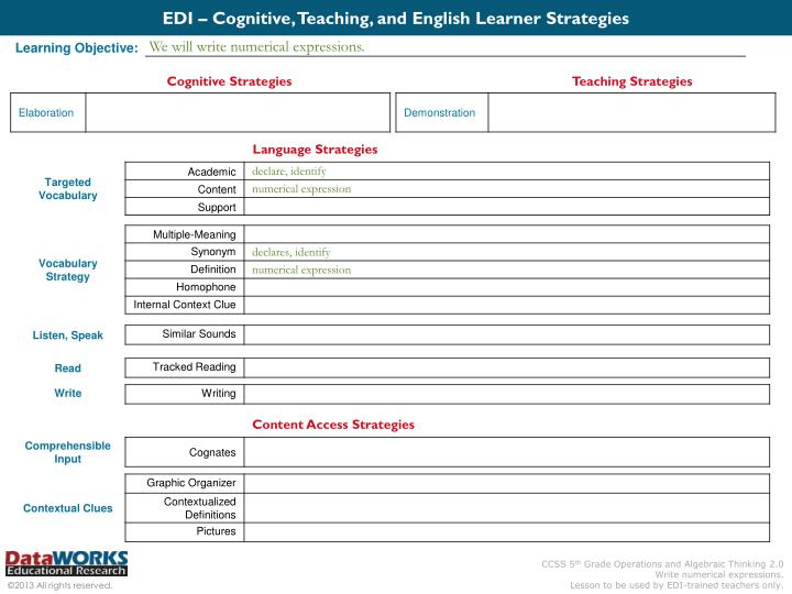 EDI – Cognitive, Teaching, and English Learner Strategies