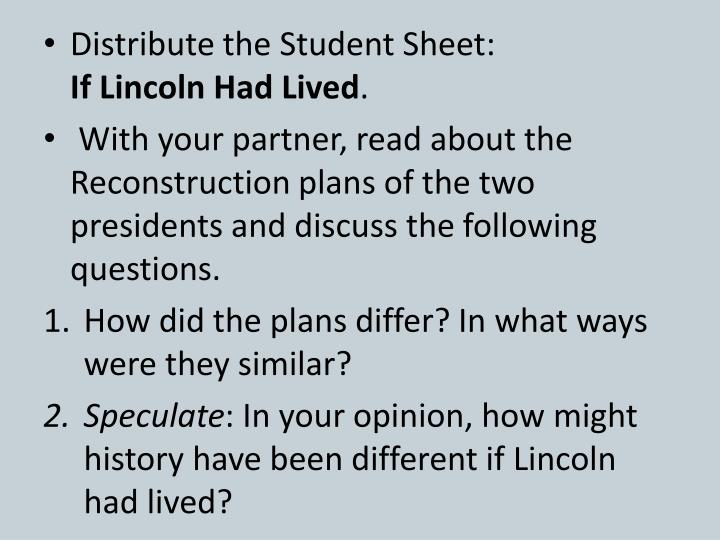 Distribute the Student Sheet: