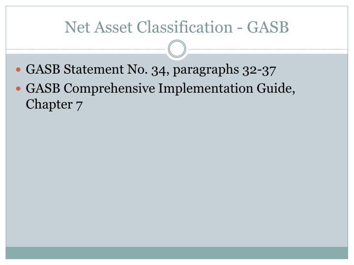 Net Asset Classification - GASB