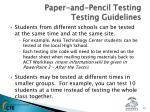 paper and pencil testing testing guidelines1