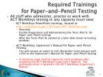 required trainings for paper and pencil testing