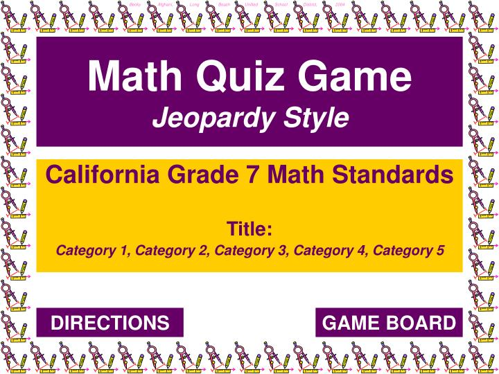 Math quiz game jeopardy style