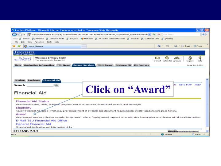 """Click on """"Award"""""""