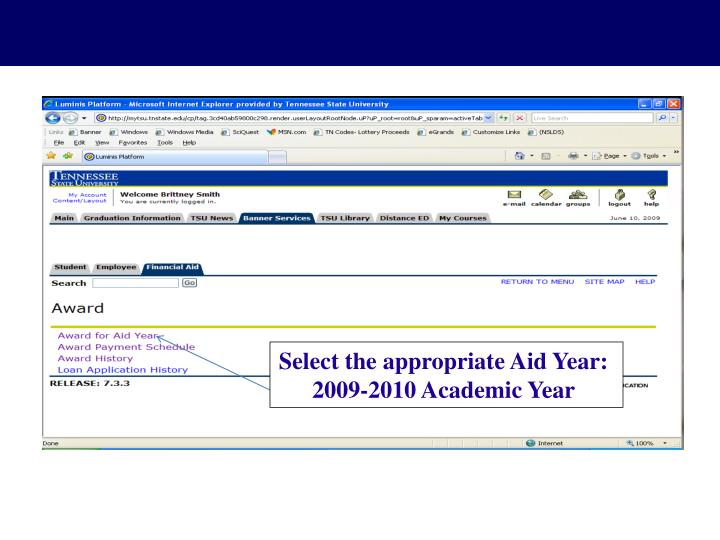 Select the appropriate Aid Year: