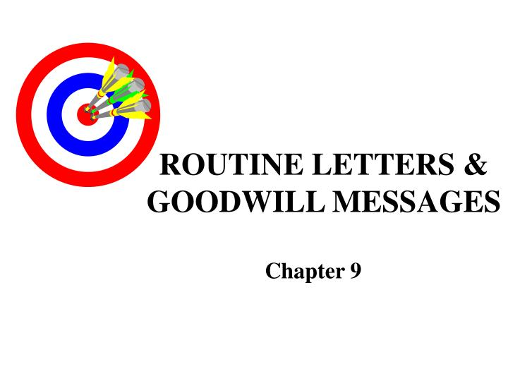 routine letters goodwill messages n.