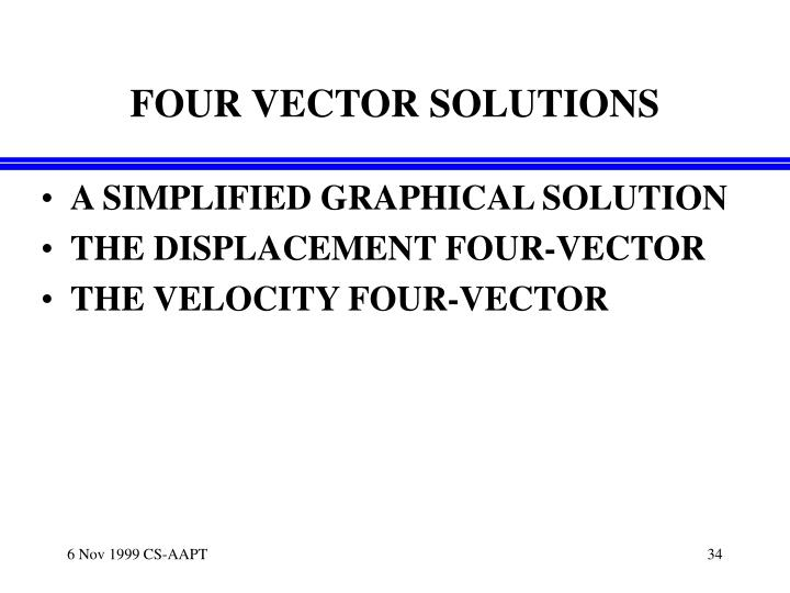 FOUR VECTOR SOLUTIONS