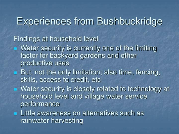 Experiences from Bushbuckridge