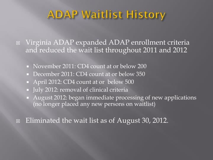 Adap waitlist history