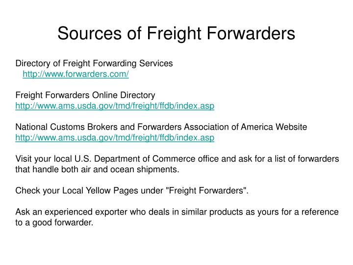 Sources of Freight Forwarders