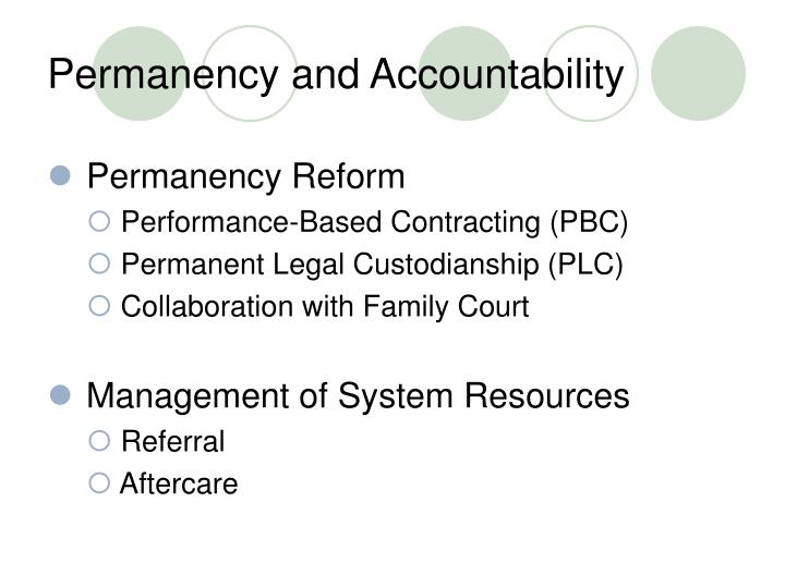 Permanency and accountability