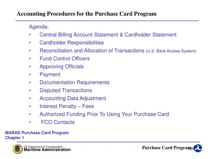 Accounting Procedures for the Purchase Card Program