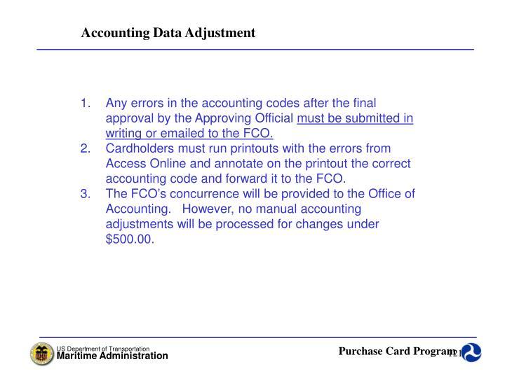 Accounting Data Adjustment