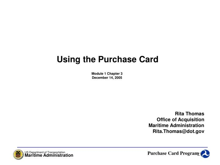 Using the Purchase Card