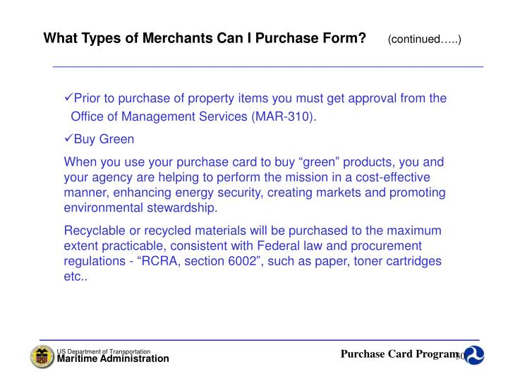 What Types of Merchants Can I Purchase Form?