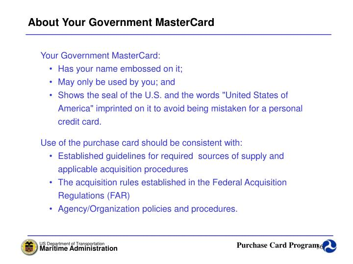 About Your Government MasterCard
