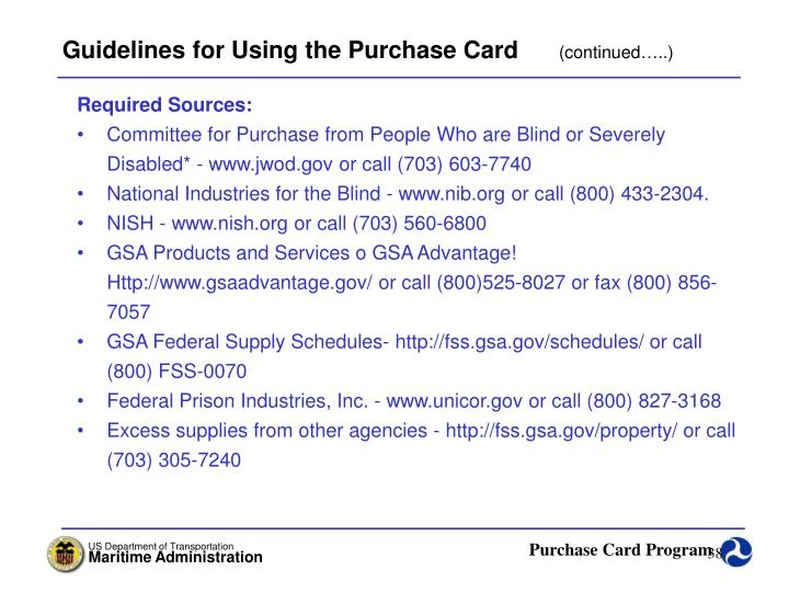 Guidelines for Using the Purchase Card