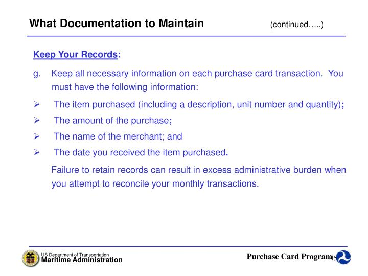 What Documentation to Maintain
