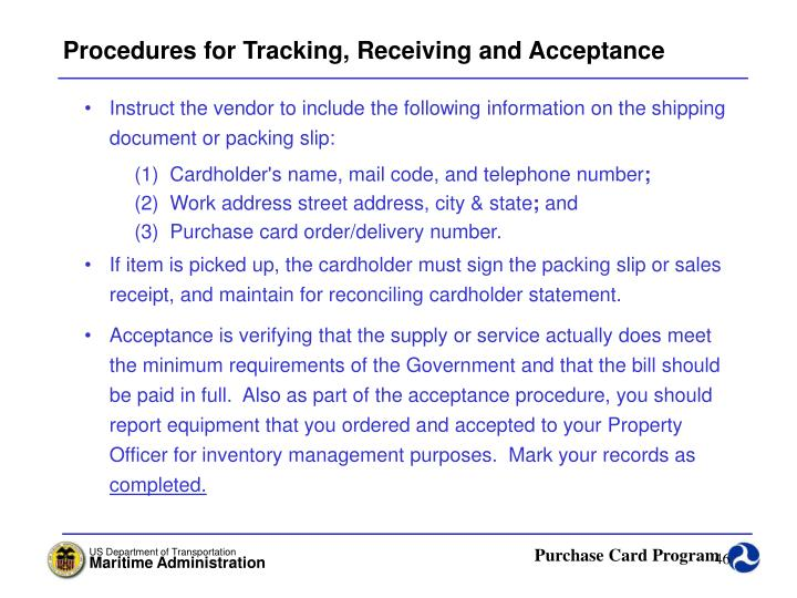 Procedures for Tracking, Receiving and Acceptance