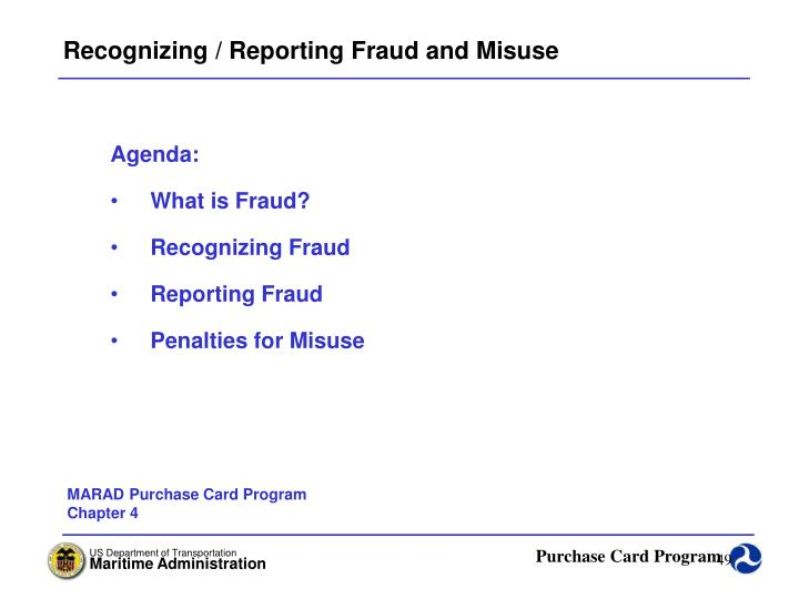 Recognizing / Reporting Fraud and Misuse