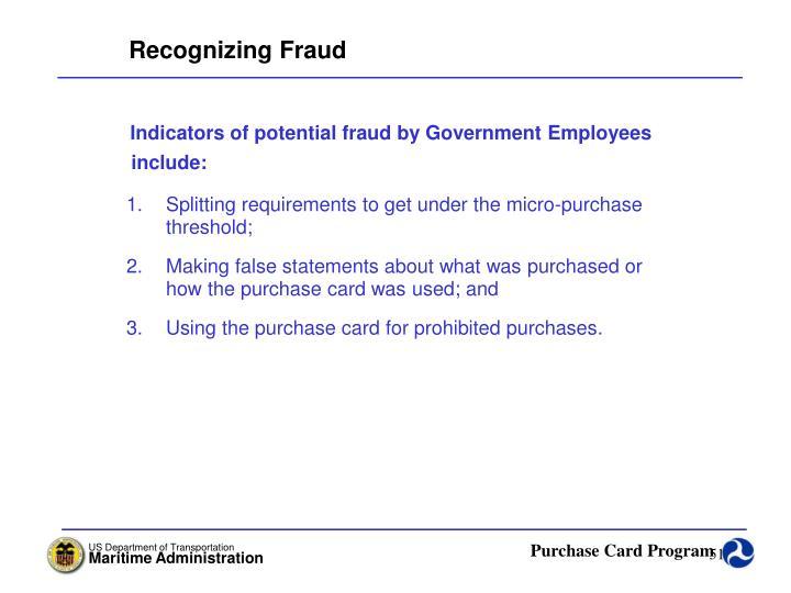 Recognizing Fraud