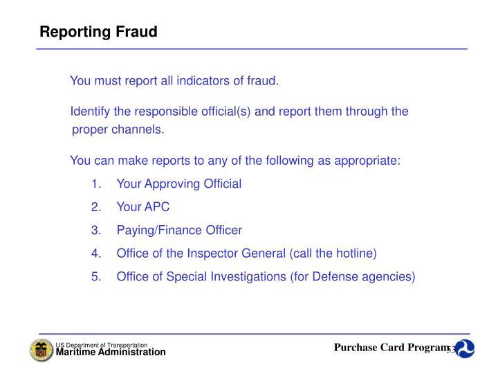 Reporting Fraud