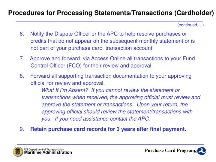 Procedures for Processing Statements/Transactions (Cardholder)
