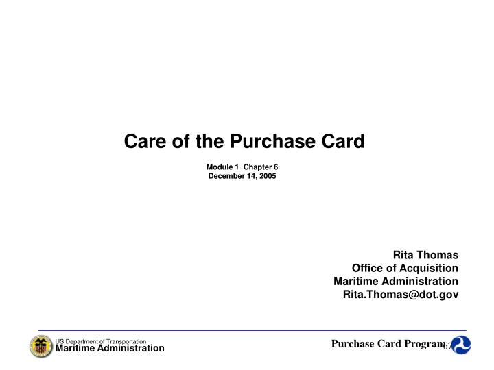 Care of the Purchase Card
