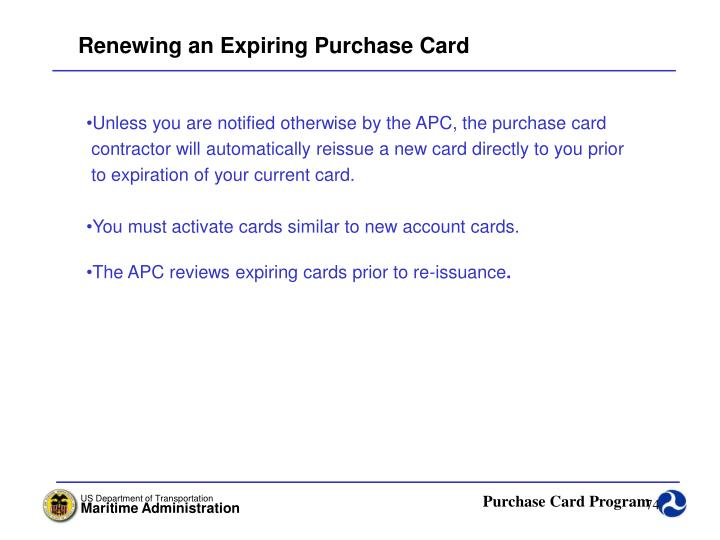 Renewing an Expiring Purchase Card
