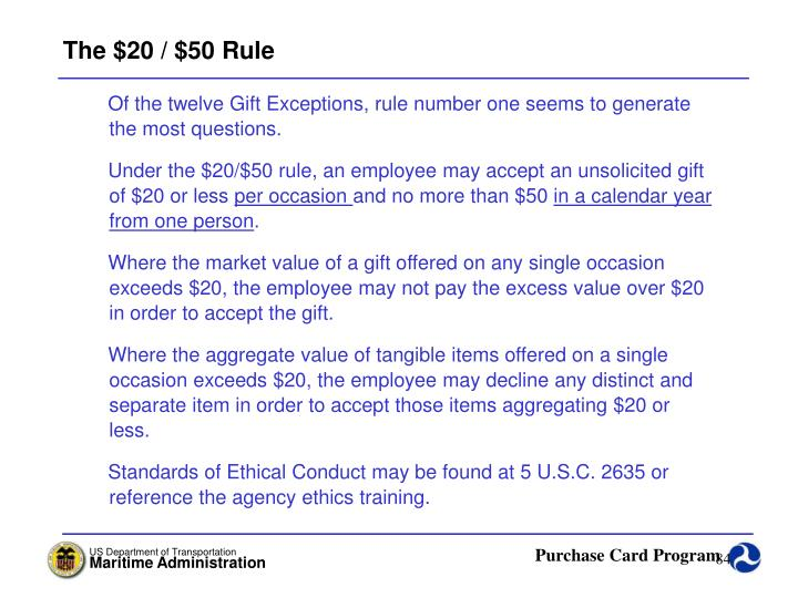 The $20 / $50 Rule