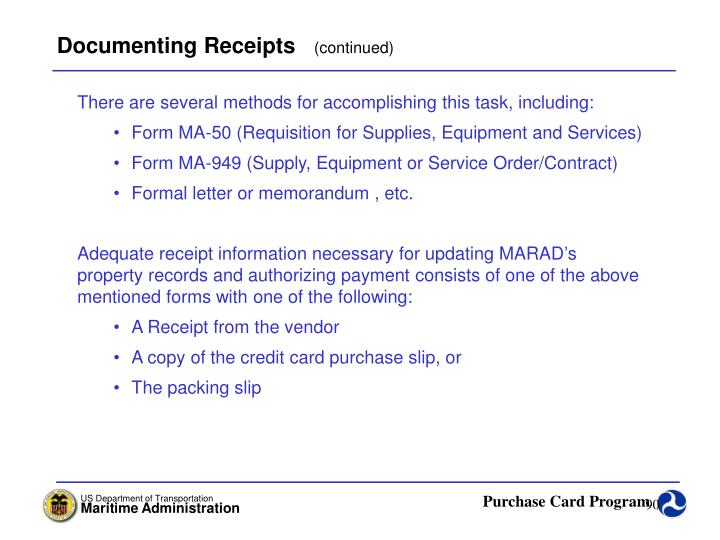 Documenting Receipts
