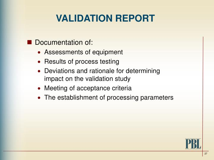VALIDATION REPORT